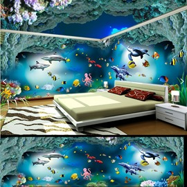 Green Reef and Sea Fish Pattern 3D Waterproof Ceiling and Wall Murals
