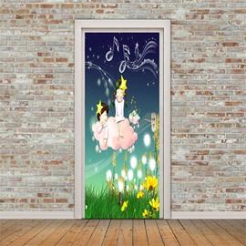 30×79in Cartoon Girl on the Grass PVC Environmental and Waterproof 3D Door Mural