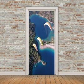 30×79in Skydiving People Under Blue Sky PVC Environmental and Waterproof 3D Door Mural