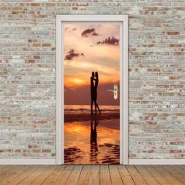 30×79in Lovers in the Sunset PVC Environmental and Waterproof 3D Door Mural
