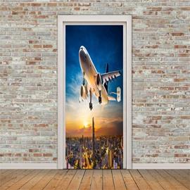 30×79in Airplane Flies over BuildingS PVC Environmental and Waterproof 3D Door Mural