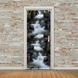 30×79in Flowing Mountain spring PVC Environmental and Waterproof 3D Door Mural
