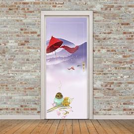 30×79in Red Umbrella and Incense Burner PVC Environmental and Waterproof 3D Door Mural