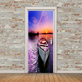 30×79in Sunset Boat PVC Environmental and Waterproof 3D Door Mural