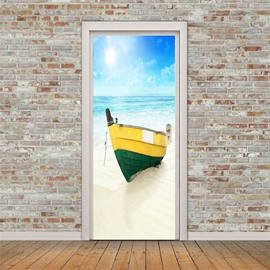 30×79in Yellow Boats on the Beach PVC Environmental and Waterproof 3D Door Mural