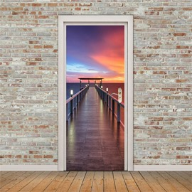 30×79in Bridge in the Purple Sunset PVC Environmental and Waterproof 3D Door Mural