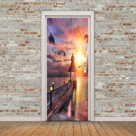 30×79in Sunset and Lonely Bridge PVC Environmental and Waterproof 3D Door Mural