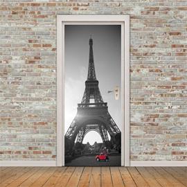 30×79in Eiffel Tower with Red Car PVC Environmental and Waterproof 3D Door Mural