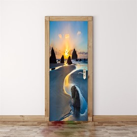 30×79in Beach and Black Rocks PVC Environmental and Waterproof 3D Door Mural