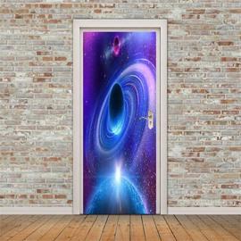 30×79in Star Purple Galaxy PVC Environmental and Waterproof 3D Door Mural
