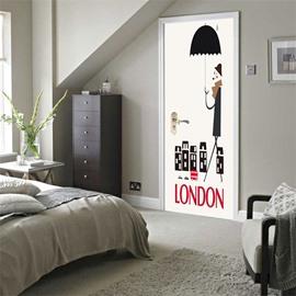 30×79in Cartoon Man with Umbrella and Words PVC Environmental and Waterproof 3D Door Mural