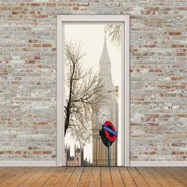 30×79in Big Ben with Lonely Tree PVC Environmental and Waterproof 3D Door Mural