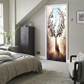 30×79in Antlers with Flowers PVC Environmental and Waterproof 3D Door Mural