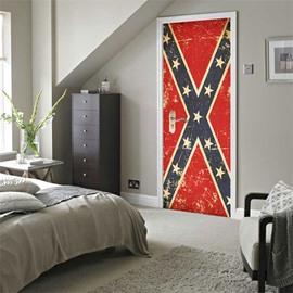 30×79in Red Door with Stars PVC Environmental and Waterproof 3D Door Mural