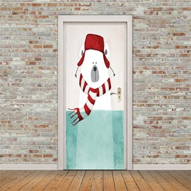 30×79in Cartoon Bear with Hat PVC Environmental and Waterproof 3D Door Mural