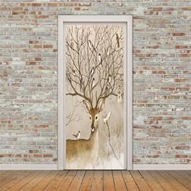 30×79in Antler Branches with Birds PVC Environmental and Waterproof 3D Door Mural