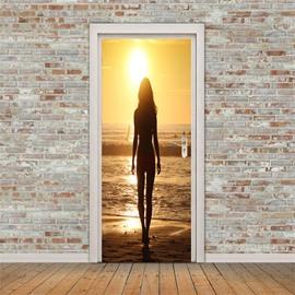 30×79in Woman Facing Back to the Sun PVC Environmental and Waterproof 3D Door Mural