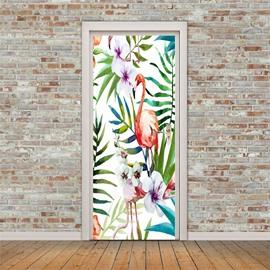 30×79in Flamingos and Plants PVC Environmental and Waterproof 3D Door Mural