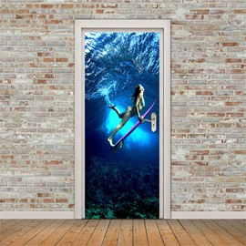 30×79in Underwater Woman with Skateboard PVC Environmental and Waterproof 3D Door Mural