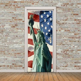 30×79in Statue of Liberty and American Flag PVC Environmental and Waterproof 3D Door Mural