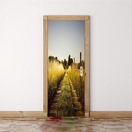 30×79in Crops and Roads PVC Environmental and Waterproof 3D Door Mural