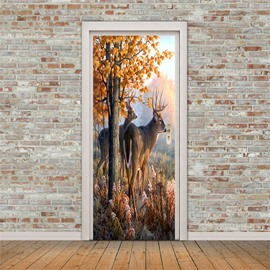 30×79in Deer in the Tree PVC Environmental and Waterproof 3D Door Mural