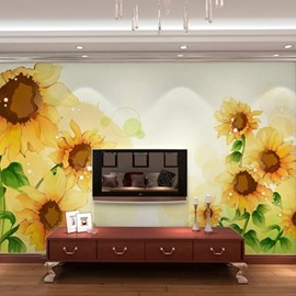 TV Wall Non-woven Fabrics Waterproof Sunflower Environment Friendly 3D Wall Murals/Wallpaper