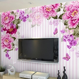 Non-woven Fabrics Environment Friendly Waterproof Peony Room Wall Mural