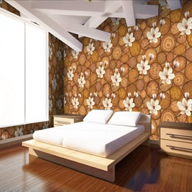 Non-woven Fabrics Environment Friendly Waterproof Classic Flower Pattern Wall Mural