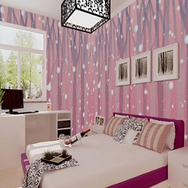 Non-woven Fabrics Environment Friendly Waterproof Pink Dot Pattern Wall Mural