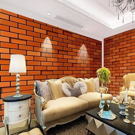 Non-woven Fabrics Environment Friendly Waterproof Classic Brick Pattern Wall Mural