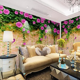 Classic Wall And Flower Pattern Non-woven Fabrics Environment Friendly Waterproof Wall Mural