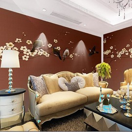Birds And Blossom Pattern Non-woven Fabrics Environment Friendly Waterproof Wall Mural