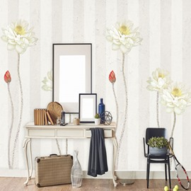 Simple Design Lotus Pattern Non-woven Fabrics Environment Friendly Waterproof Wall Mural