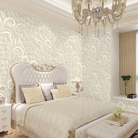 Environment Friendly Waterproof Non-woven Fabrics White Elegant Flower Pattern Wall Mural