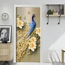 Blue Peacock and Roses 3D Door Mural Window Wardrobe Fridge Sticker PVC Self-adhesive Stickers