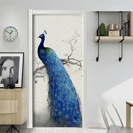 Blue Peacock 3D Door Mural Window Wardrobe Fridge Self-adhesive Sticker PVC Stickers