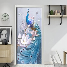 Peacock 3D Door Mural Window Wardrobe Fridge Sticker PVC Self-adhesive Stickers