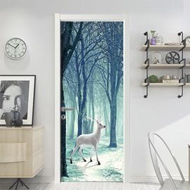 Deer 3D Door Mural Window Wardrobe Fridge Self-adhesive Sticker PVC Stickers