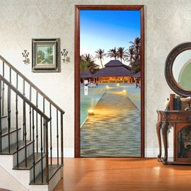 Modern Palm Tree Sea Natural Scenery 3D Door Murals Wall Stickers / Wall Decorations