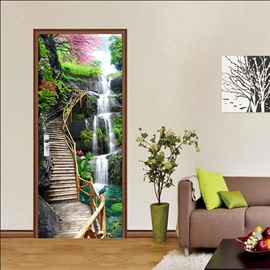 Natural Scenery Tree and River 3D Door Murals Wall Stickers / Wall Decorations