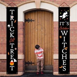 Front Door Trick or Treat Banner Hanging Halloween Porch Decorations Outdoor Signs Home Welcome Signs Decorations