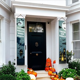 Front Door Trick or Treat Banner Hanging Halloween Porch Decorations Outdoor Signs for Home Welcome Signs Decorations
