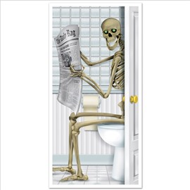 Skeleton Restroom Door Cover Party Accessory  Modern Skull Wall Stickers  Wall Decorations