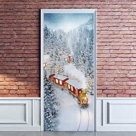 30×79 Inches Christmas Cartoon Environmental and Waterproof Door Decals for Christmas Party Decorations PVC 3D Door Mural Train