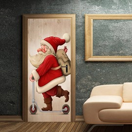 30×79 Inches Christmas Cartoon Environmental and Waterproof Door Decals for Christmas Party Decorations PVC 3D Door Mural Santa Claus