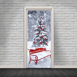 30×79 Inches Christmas Cartoon Environmental and Waterproof Door Decals for Christmas Party Decorations PVC 3D Door Mural Bench Christmas Tree