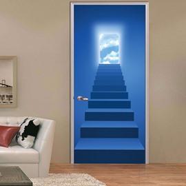 30×79in PVC Environmental and Waterproof 3D Door Mural Blue Stair Pattern