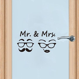 DIY Removable Man Woman Washroom Toilet Bathroom WC Sign Door Accessories Wall Sticker Home Decor for Kids Living Room Home Decoration Black