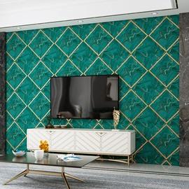Modern 3D Embossed Imitation Suede Waterproof Wallpaper Dark Green Diamond Lattice Living Room Background Self-Adhesive Decorative Wall Murals